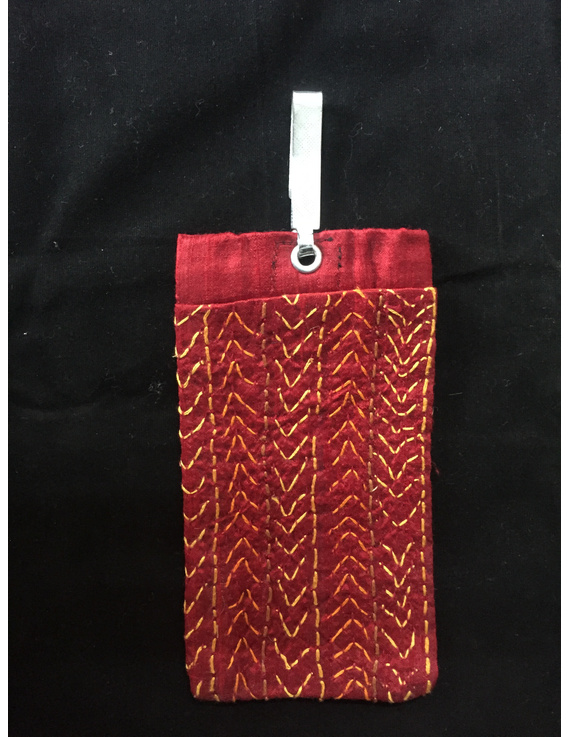 Silk Cell Phone pouch with saree hook : CPS01-4