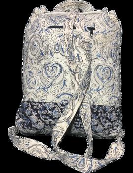 Quilted blue and black kalamkari backpack bag: BPS04-2-sm