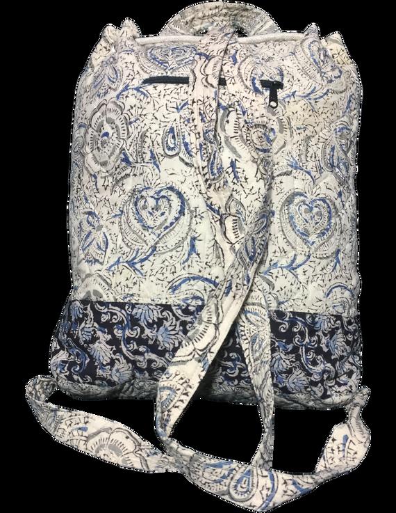 Quilted blue and black kalamkari backpack bag: BPS04-2