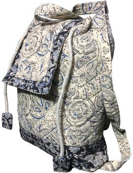 Quilted blue and black kalamkari backpack bag: BPS04-3-sm