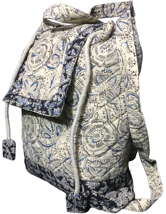 Quilted blue and black kalamkari backpack bag: BPS04-3