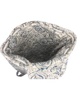 Quilted blue and black kalamkari backpack bag: BPS04-4-sm