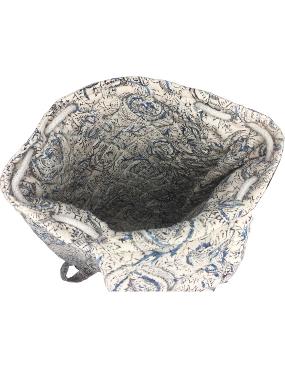 Quilted blue and black kalamkari backpack bag: BPS04-4