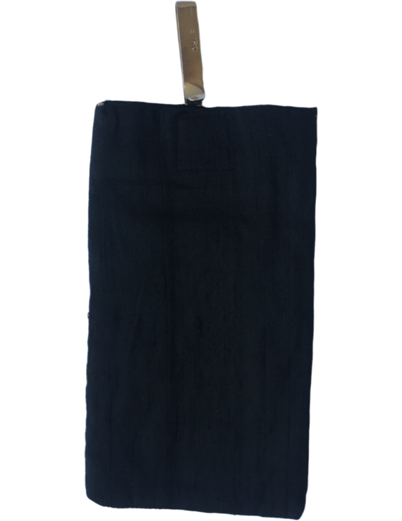 Silk Cell Phone pouch with saree hook - black large : CPSL02-1