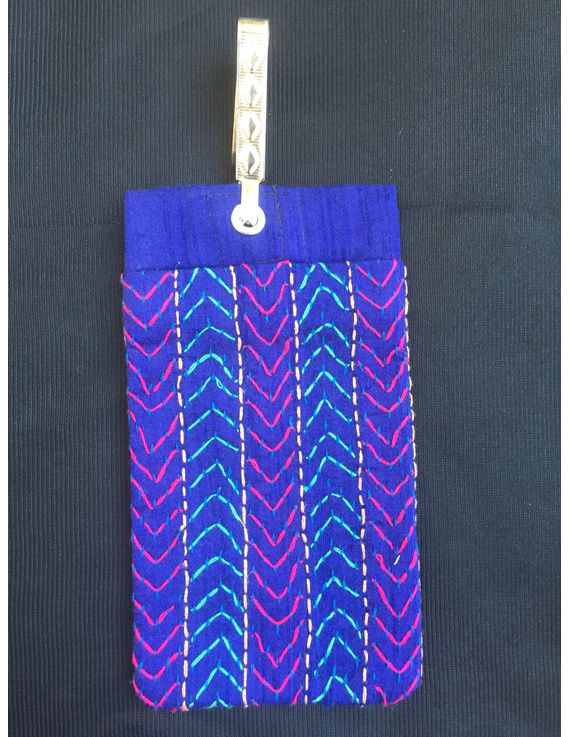 Silk Cell Phone pouch with saree hook : CPS03-CPS03