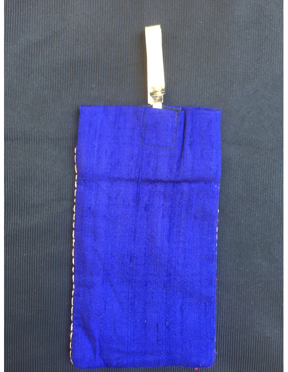 Silk Cell Phone pouch with saree hook : CPS03-2