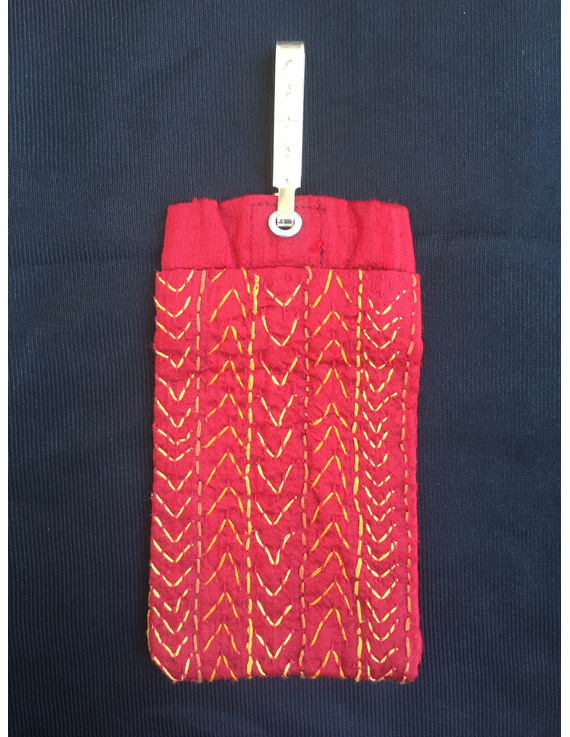 Silk Cell Phone pouch with saree hook : CPS01-CPS01