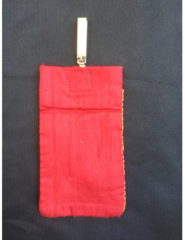 Silk Cell Phone pouch with saree hook : CPS01-2-sm