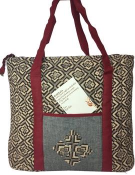 Black and grey kalamkari quilted laptop bag : LBK03-1-sm