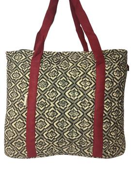 Black and grey kalamkari quilted laptop bag : LBK03-2-sm