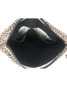 Black and grey kalamkari quilted laptop bag : LBK03-3-sm