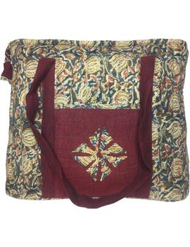 Green and maroon kalamkari quilted laptop bag : LBK04-1-sm