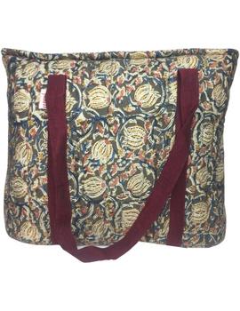 Green and maroon kalamkari quilted laptop bag : LBK04-2-sm