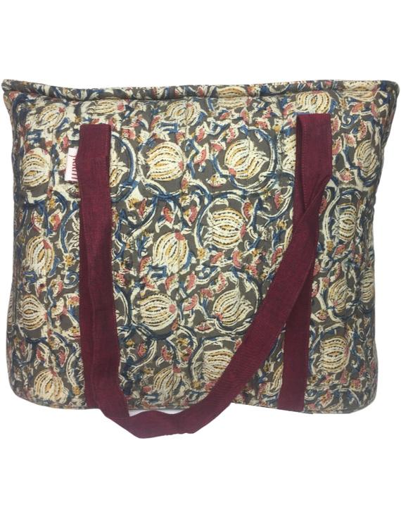 Green and maroon kalamkari quilted laptop bag : LBK04-2
