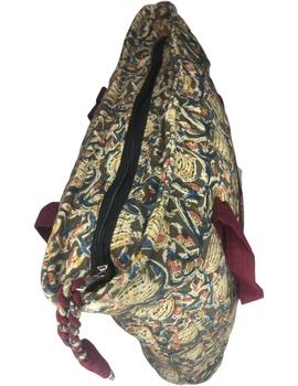 Green and maroon kalamkari quilted laptop bag : LBK04-3-sm
