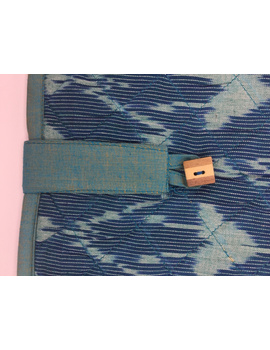 Teal blue ikat file folder with button: SFB04-1-sm