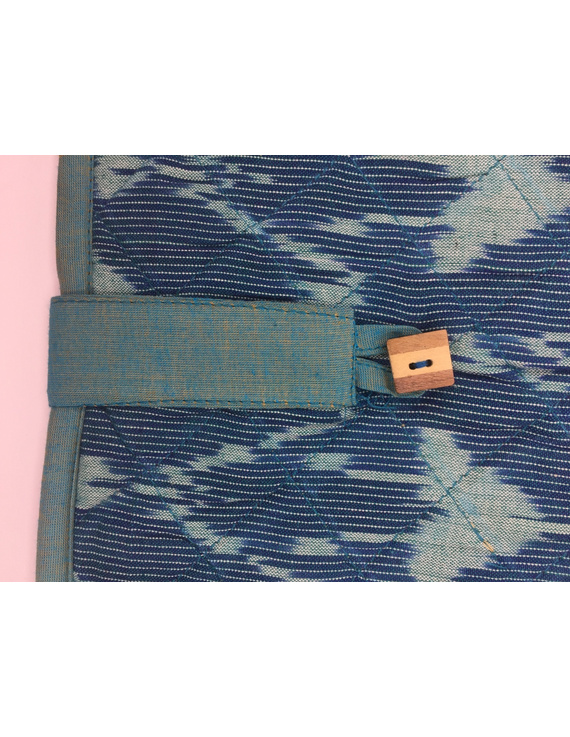 Teal blue ikat file folder with button: SFB04-1