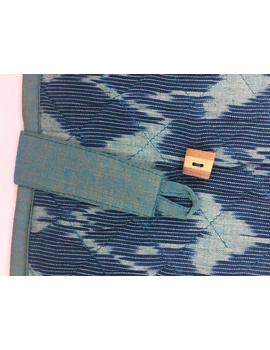 Teal blue ikat file folder with button: SFB04-2-sm