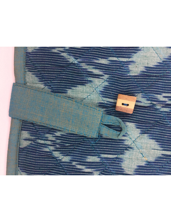 Teal blue ikat file folder with button: SFB04-2