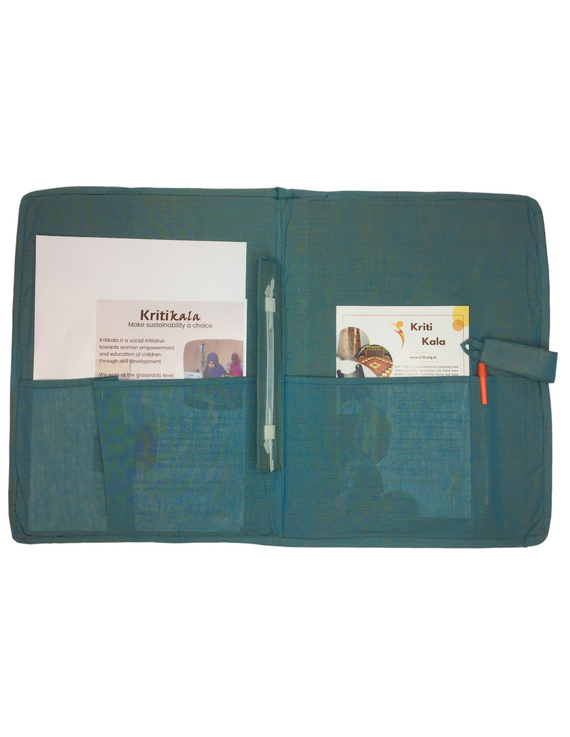 Teal blue ikat file folder with button: SFB04-3