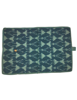 Teal blue ikat file folder with button: SFB04-4-sm