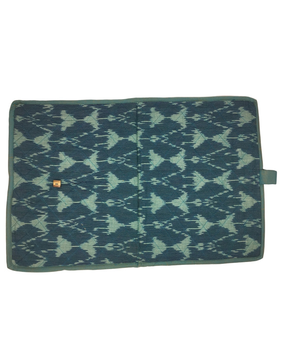 Teal blue ikat file folder with button: SFB04-4
