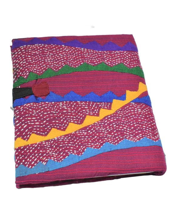 HAND MADE APPLIQUE WORK JOURNAL IN MAROON: STH01-1