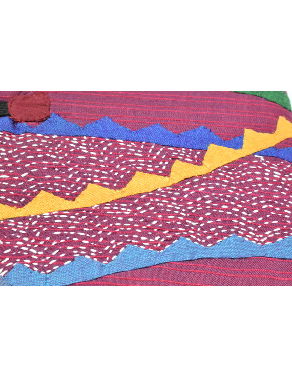 HAND MADE APPLIQUE WORK JOURNAL IN MAROON: STH01-2