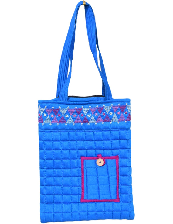 BLUE SILK QUILTED TOTE CUM LAPTOP BAG WITH HAND EMBROIDERY: TBA01-1