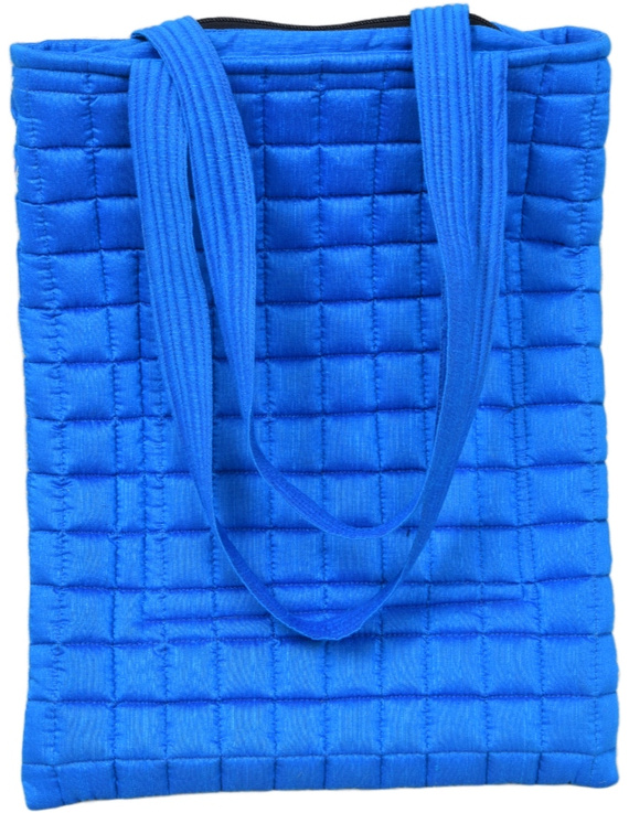 BLUE SILK QUILTED TOTE CUM LAPTOP BAG WITH HAND EMBROIDERY: TBA01-2