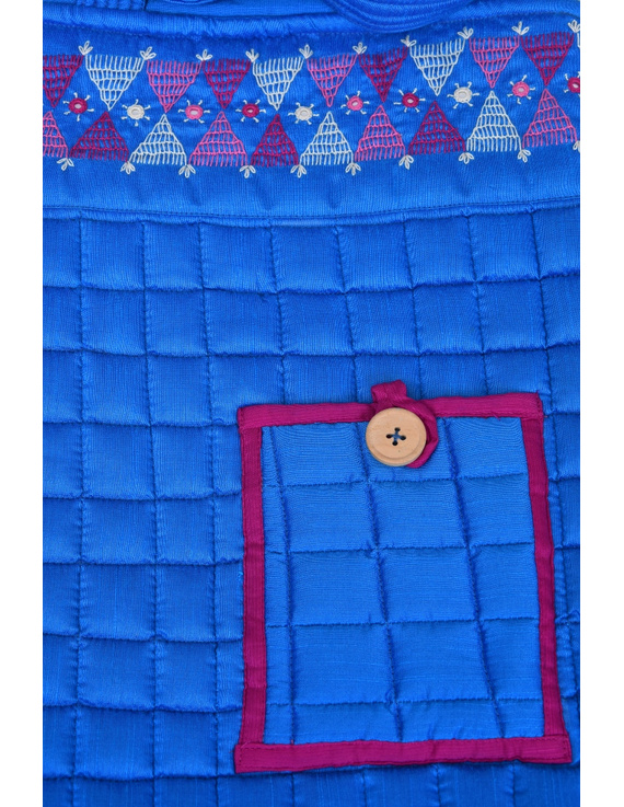 BLUE SILK QUILTED TOTE CUM LAPTOP BAG WITH HAND EMBROIDERY: TBA01-3