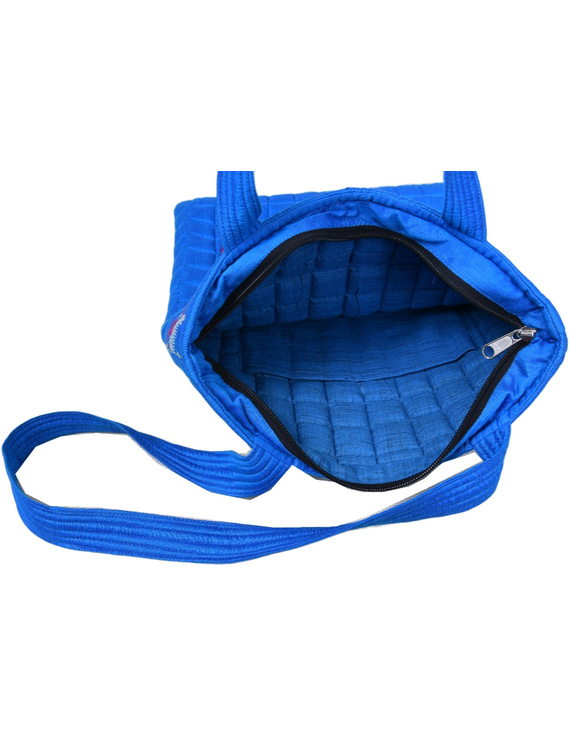 BLUE SILK QUILTED TOTE CUM LAPTOP BAG WITH HAND EMBROIDERY: TBA01-4