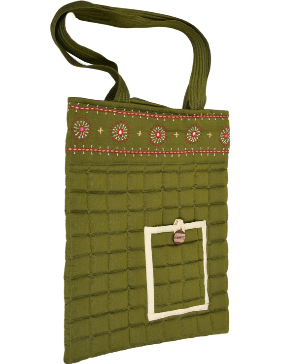 MUSTARD GREEN SILK QUILTED TOTE CUM LAPTOP BAG WITH HAND EMBROIDERY: TBA02-1