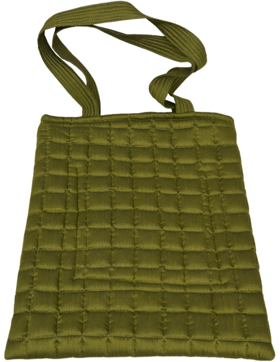 MUSTARD GREEN SILK QUILTED TOTE CUM LAPTOP BAG WITH HAND EMBROIDERY: TBA02-2
