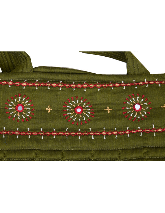 MUSTARD GREEN SILK QUILTED TOTE CUM LAPTOP BAG WITH HAND EMBROIDERY: TBA02-3