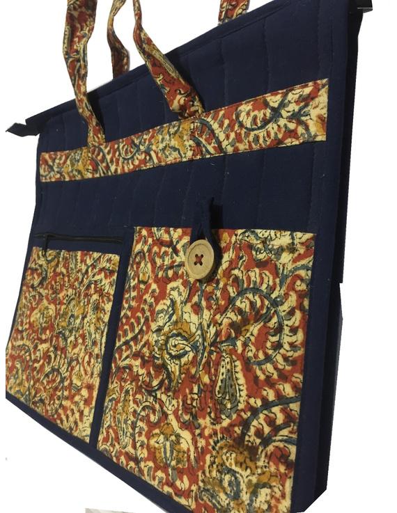 Jute and kalamkari laptop bag - blue : LBJ02-3