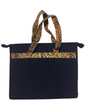 Jute and kalamkari laptop bag - blue : LBJ02-2-sm