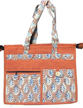 Jute and kalamkari laptop bag - orange : LBJ01-LBJ01-sm