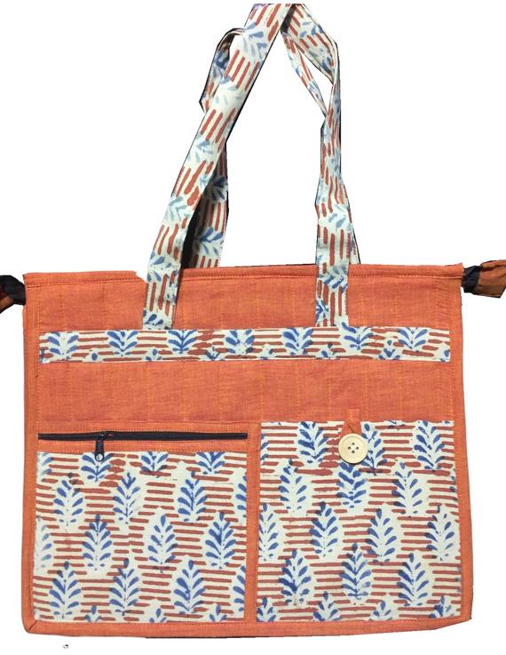 Jute and kalamkari laptop bag - orange : LBJ01-LBJ01