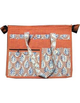 Jute and kalamkari laptop bag - orange : LBJ01-1-sm