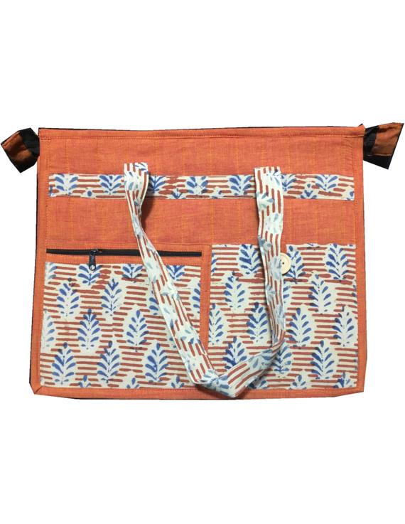 Jute and kalamkari laptop bag - orange : LBJ01-1
