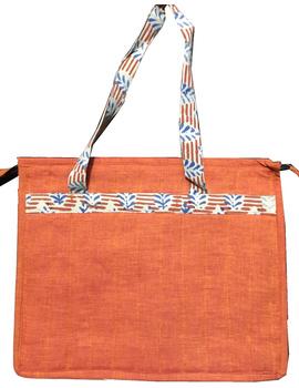 Jute and kalamkari laptop bag - orange : LBJ01-2-sm