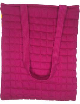 Purple silk quilted tote cum laptop bag : TBA03-3-sm