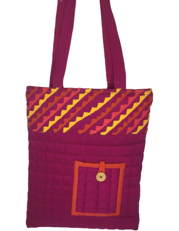 Purple silk quilted tote cum laptop bag : TBA03-2