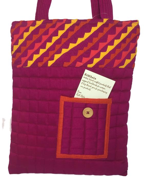 Purple silk quilted tote cum laptop bag : TBA03-1