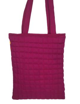Purple silk quilted tote cum laptop bag : TBA03-4-sm