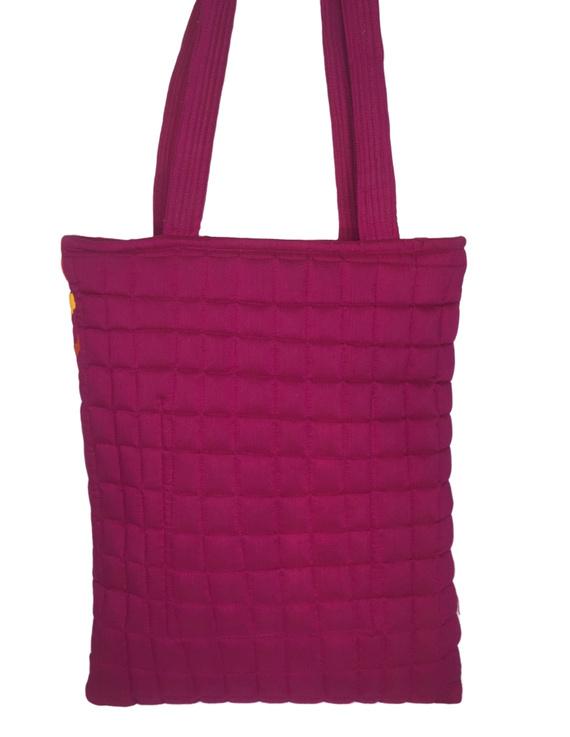 Purple silk quilted tote cum laptop bag : TBA03-4