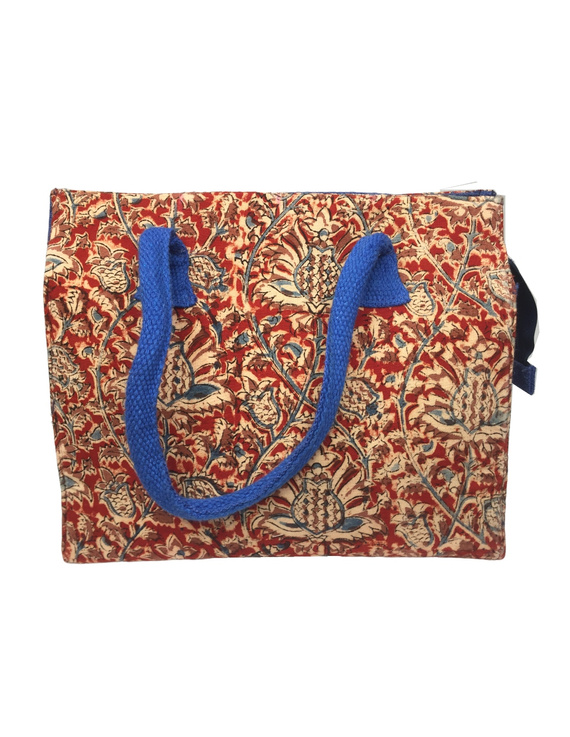 Red and blue jute box bag : TBJ03-1