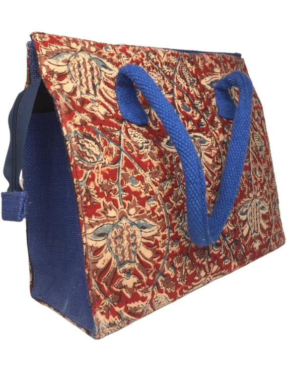 Red and blue jute box bag : TBJ03-2