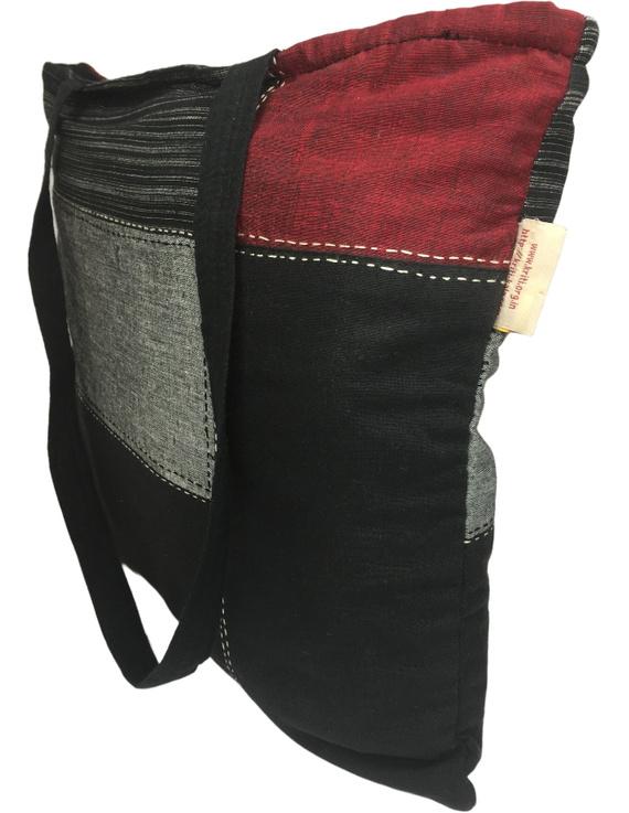 Black and grey tonal patchwork tote bag : TBR02-2